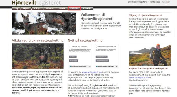 Bildet viser startsiden til www.hjorteviltregisteret.no, øverst på siden ligger de ulike mulighetene for å se ønsket tallmateriale.