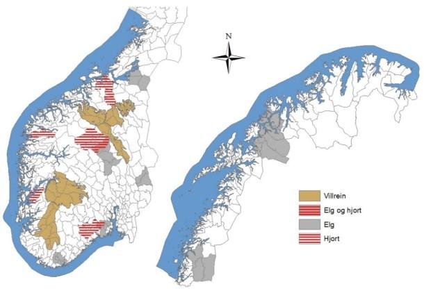 Overvåkingsområdene for elg, hjort og villrein i Norge.